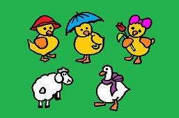 Gęś, owca i kurczaki