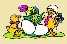 Kurczaki i jaja wielkanocne