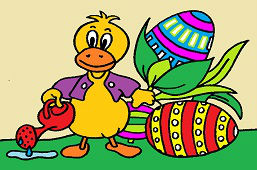 Kaczor i jajka kolorowane