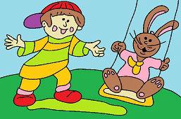 Chłopiec i królik