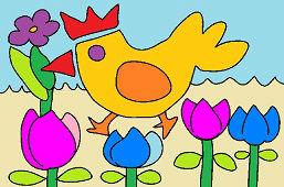 Kurczak i kwiaty