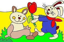 Króliczki i kwiat