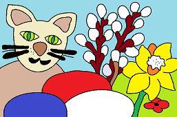 Kot i pisanki wielkanocne