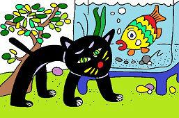 Czarny kot i akwarium
