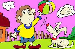 Chłopiec z piłką i piesek