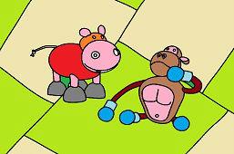 Małpa i hipopotam