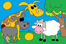 Żyrafa, osioł i owca