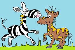 Zebra i przyjaciel konik