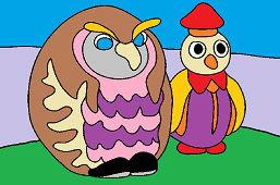 Sowa Nauczyciel i Pingwin