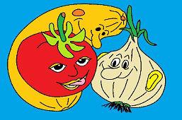 Dynia, cebula i pomidor