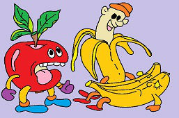 Jabłko i żółte banany