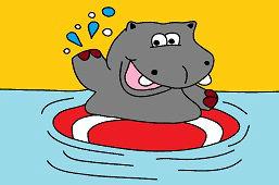 Hipopotam w basenie