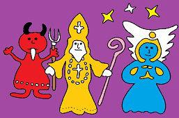 Diabeł, anioł i Święty Mikołaj