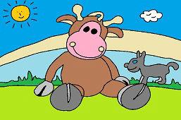 Krowa i szczeniak