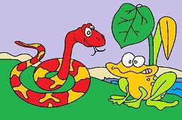 Głodny wąż i żaba