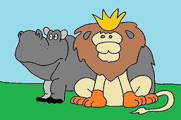 Król zwierząt i hipopotam