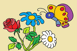 Bukiet kwiatów i motyl