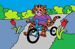 Tygrys na rowerze trójkołowym