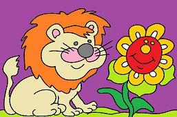 Lew i słonecznik