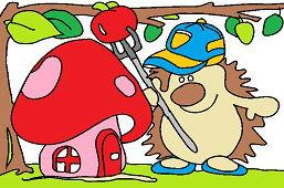 Jeż i domek muchomor