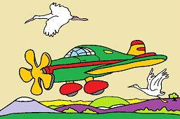 Samolot i bociany