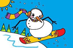 Bałwanek na snowboardzie