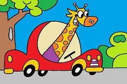 Żyrafa za kierownicą