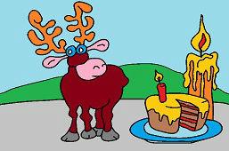 Renifer i tort ze świecą