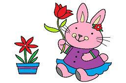Królik z tulipanem