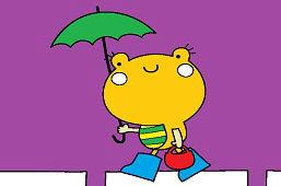 Żaba z parasolem