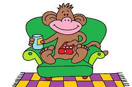Małpa przed telewizorem