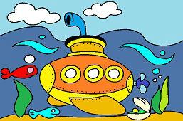 Żółty statek podwodny