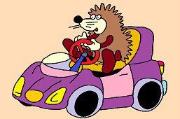 Jeż i samochodzik fioletowy