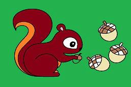 Wiewiórka i żołędzie