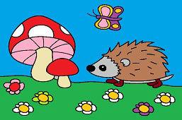 Jeż i grzyby