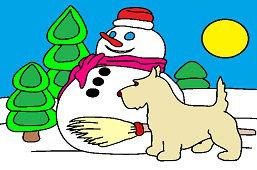 Bałwanek i pies