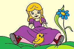 Dziewczynka i pisklę