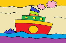 Statek z dymiącym kominem