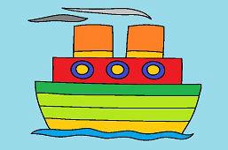 Parowiec na morzu