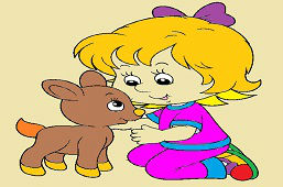 Dziewczynka i młoda sarna