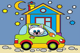 Kotek i nowy samochód