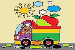 Kubuś i ciężarówka z owocami