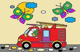 Motyle i wóz strażacki