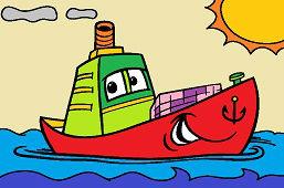 Mała łódź i słońce