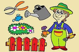 Ogrodnik i narzędzia