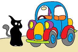 Czarny kot i samochód
