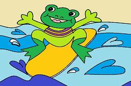 Żaba na desce surfingowej