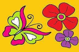 Motyl i dwa kwiaty