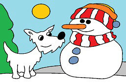 Pies i bałwanek