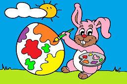 Króliczek maluje jajko